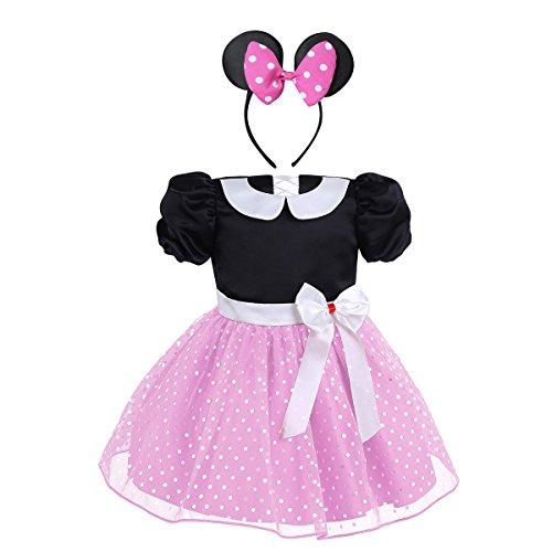 iiniim Baby Mädchen Kleid Festlich Kleid Prinzessin Polka Dots Kleid Halloween Weihnachten Fasching Partykleid Ballkleid Gr.74-104 Rosa 80-86/12-18 Monate
