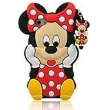 I Need (TM ) 3D Ratón cubierta de la caja suave del silicio de la historieta Minnie Compatible para Apple Iphone 5/5g/5s (rojo)