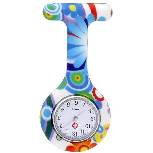 JSDDE Uhren,Krankenschwester FOB-Uhr Damen Silikon Tunika Brosche Taschenuhr Analog Quarzuhr,Gruen-Blau Muster