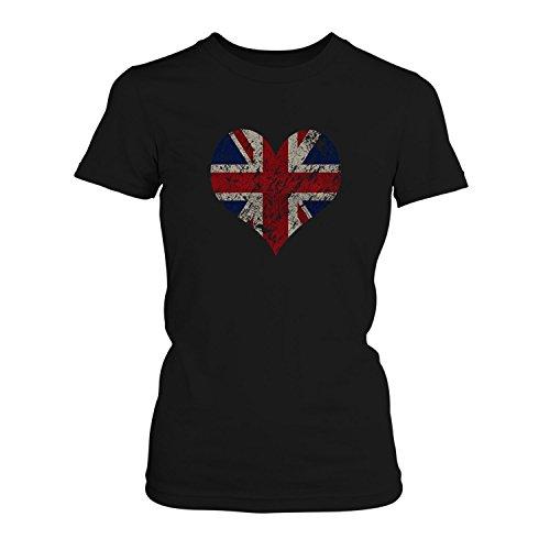 Fashionalarm Damen T-Shirt - I love the United Kingdom   Fun Shirt Trikot mit Vintage Union Jack Flagge Print für Fußball & UK Fans   EM & WM, Farbe:schwarz;Größe:4XL