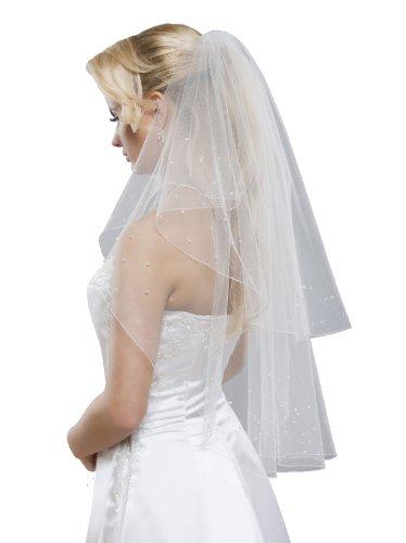 Velo di sposa 2piani con perle di vetro Swarovski, lunghezza di anca crema 80/60 cm