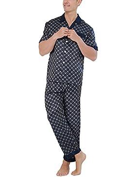 Dolamen Pijamas para Hombre Satén, Hombre largos Primavera Verano Impresión Retro, Hombre camisones Pijamas de...