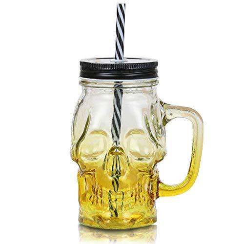 (MHOYI Kreative Farbverlauf Mason Flasche mit Glasschale , Bierkrug mit Strohschale, gruseliges Halloween-Glas-Totenkopfglas, mit Griff, Farbiger Trinkhalmdeckel, Neuheit-Punch-Cocktail (Gelb))