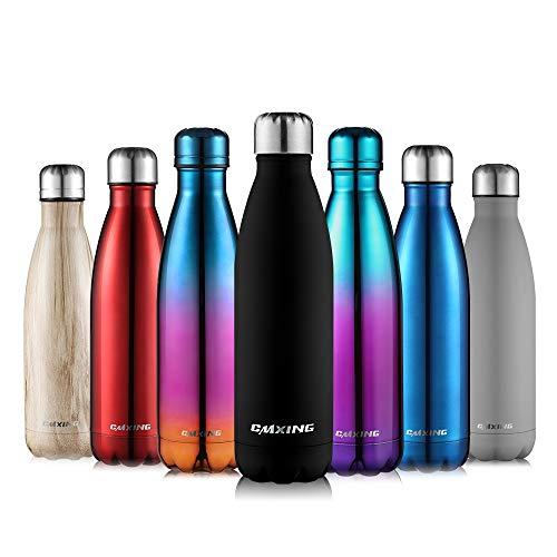 cmxing Doppelwandige Thermosflasche 500 mL / 750 mL mit Tasche BPA-Frei Edelstahl Trinkflasche Vakuum Isolierflasche (Schwarz, 500 mL)