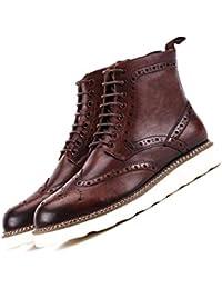 Stivali in Pelle Piani degli Uomini Derby di Uomo Vintage Martin Boots  Tooling Chelsea Castano Scuro 06a2040196e