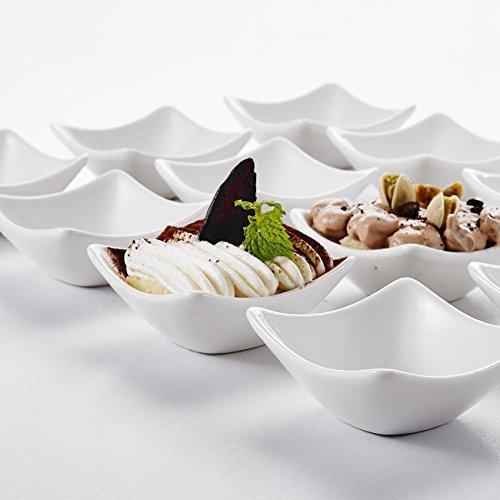 """Malacasa, Serie Ramekin.Dish, 12-teilig Set 3""""/7,5cm/60ml SUPER MINI Dessertschale Dessertschälchen Snackschale Porzellan Dessert Snack Chips Nuss Schälchen"""