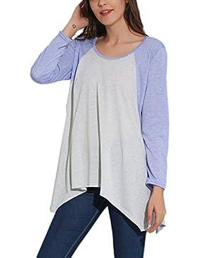 Causalidad Ireegular Mujer Manga 3 / 4 Color Patchwork Camiseta Blusa Llamarada Suelta