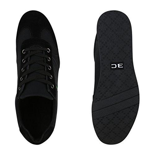 Herren Sneakers Gesteppt   Denim Sportschuhe   Sneaker Low   Turnschuhe Schnürer  Freizeit Schuhe Leder-Optik Schwarz Weiss Schwarz