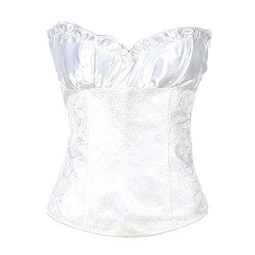 DuuoZy Frauen Sexy Push Up Shapewear Über Büste Korsett Bustier mit G-String , a28292 white , 3xl (Jazz-büste)