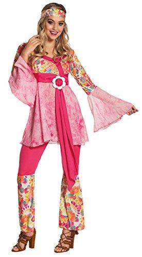 erdbeerclown Damen Flower Power Kostüm Hippie Girl - Blumen Print, L/XL, Mehrfarbig