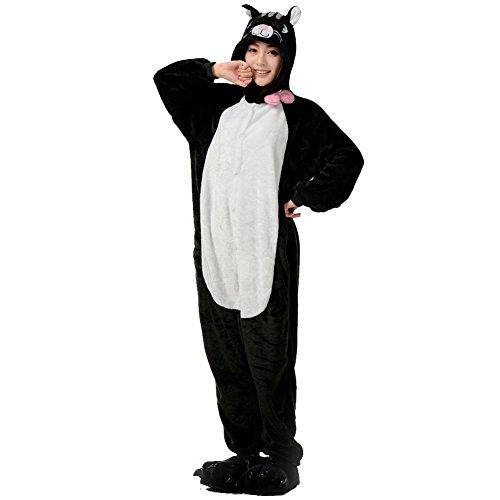 Unisex Onesie Pyjamas Overall Einteiler/Pyjama Schlafanzug Für Erwachsene Schwarze Katze (Erwachsene Overall Schwarzer Kostüme)