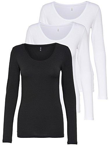 ONLY 3er Pack Damen Langarmshirt Schwarz und Weiß Langarm Basic Longsleeve Sommer Aus 95% Baumwolle XS S M L XL Gratis Wäschenetz von B46 (3er Pack Farb Mix 2, S)