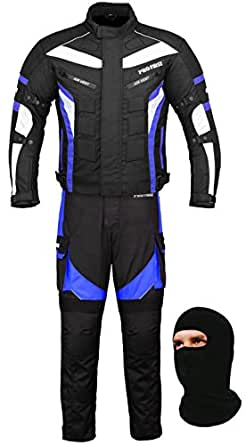 (FREE BALACLAVA) Waterproof Motorbike Gears Motorcycle 2 Suit Jacket & Trouser - Cordura Fabric - CE Armour - 6 Packs Design Most Popular - Black & Blue - 2X-Large / 44 Inch Chest