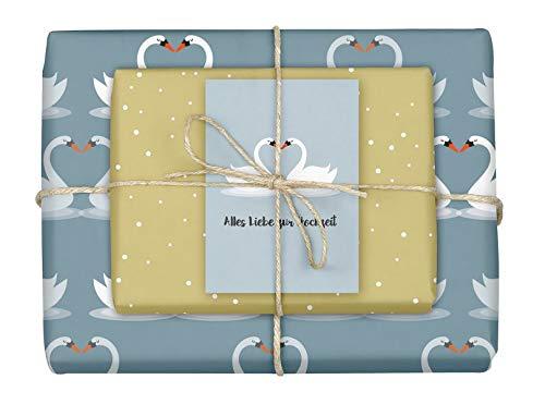 Geschenkpapier-Set: Hochzeit: 4x Einzelbögen + 1x Postkarte (Hochzeit, Geschenkpapier)