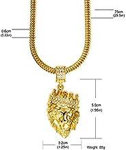 Real 18K Gold Plated Chain Men Hip Hop Hiphop Lion King Crown Necklaces