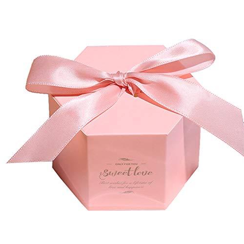 ck Süße Geschenkboxen Papier mit Ribbon für Süßigkeiten Bonbons oder Schokolade Candy-Boxen für Hochzeit Verlobung Baby-Duschen, Geburtstags Party Size 7x7x5.5cm (Rosa) ()