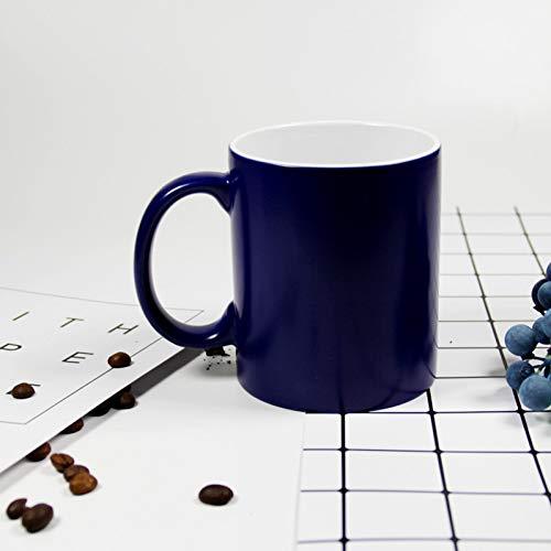PLDKFB Kaffeetasse Personifizierte magische Keramik-Becher-Farbändernde Kaffeetassen-Milch-Schalen-Geschenk, blau