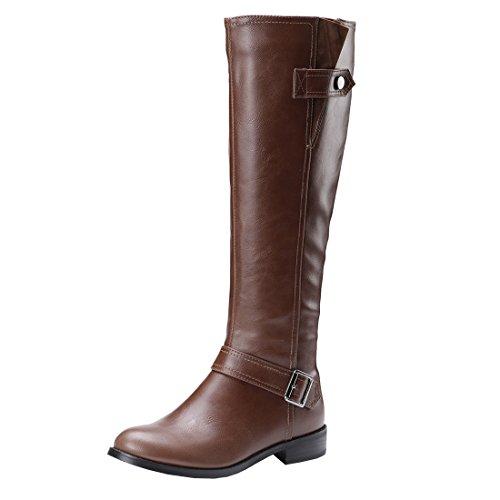 Agodor Damen Flache Knie High Boots mit Reißverschluss und Schnalle Winter Bequeme Gefüttert Langscaftstiefel Winter Schuhe (Reißverschluss-knie-boot)