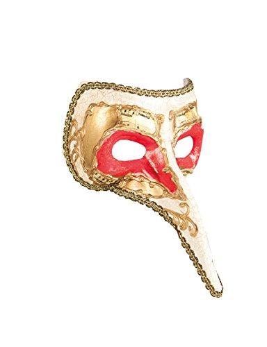 Rote Lange Nase Venezianische Maske - Boland 00282 - Maske Venice naso,