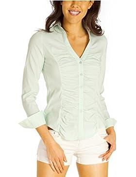 Noisy May Nmcathy Denim Shirt White, Blusa para Mujer