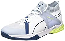 Puma Explode Xt Hybrid 1, Scarpe da Calcetto Indoor Unisex-Adulto, Bianco White-Grey Dawn-Safety Yellow-Gibraltar Sea, 47 EU