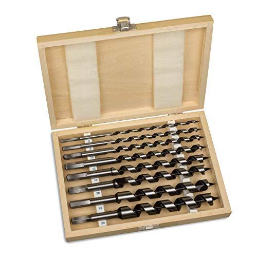 Schlangenbohrer Set 230mm lang - 8-teilig, 6-20mm Holzbohrer Set Spiralbohrer Balkenbohrer Holzspiralbohrer