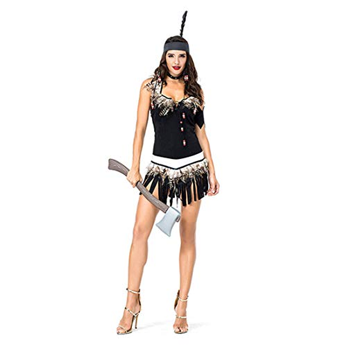 HOOLAZA Frauen Rollenspiele Chef Seattle Kostüm Indigene Frauen Cosplay Kleid 4 Stücke (Kostüm Seattle)