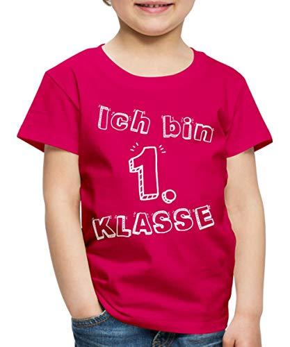 Spreadshirt Einschulung Ich Bin 1. Klasse Schulanfänger Kinder Premium T-Shirt, 122/128 (6 Jahre), Dunkles Pink (Einheitliche T-shirt Mädchen Für)