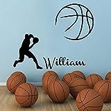etiqueta de la pared decoración Jugador de básquetbol deportivo Balón Decal Boy Nombre personalizado Club de niños Dormitorio