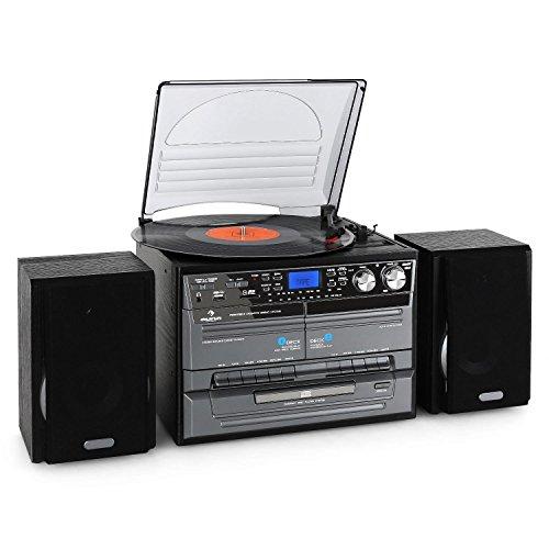 auna Chaîne hifi numérique avec lecteur vinyle et double platine cassette avec...