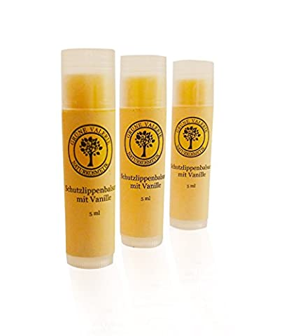 Grüne Valerie ® 3 x 5 Ml Natürlicher Vanille Lippenbalsam - mit Bienenwachs und Sheabutter, Kakaobutter, Kokosbutter, Mandelöl, Provitamin B5, Vitamin E.