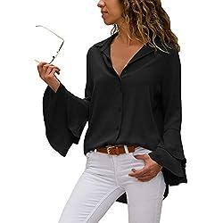 Aleumdr Mujer Blusa Tops Liso Camisa Sólida Blusa Cuello V Camiseta Mangas largas Negro Size XL