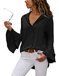 Aleumdr Mujer Blusa Cuello V Camiseta Túnica Color Puro Camisa Mangas largas para Mujer Size S-XXL