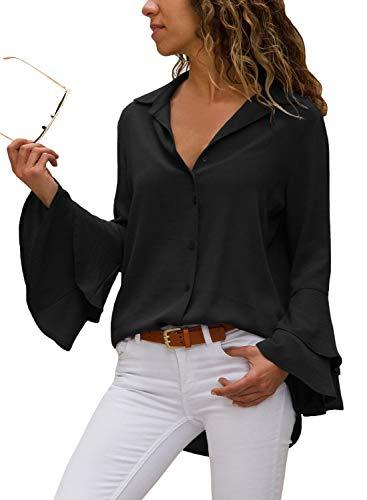 Aleumdr Mujer Blusa Mangas largas Camisa de Mujer Elástica Camiseta Cuello con Botones Negro Size L