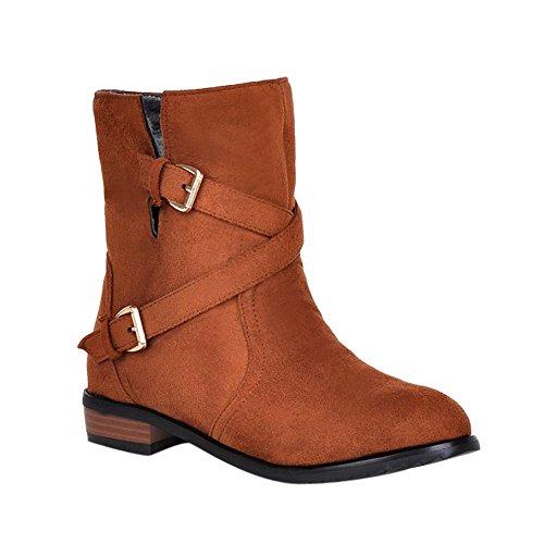 Mee Shoes Damen Niedrig kurzschaft runde Stiefel Braun
