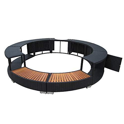 Panana-K Poly Rattan Spa Surround Hot Tub Spa Outdoor Hardwood Wicker Furniture Garden Patio (Black)