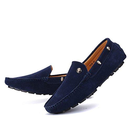 Eagsouni® Herren Mokassins Bootsschuhe Wildleder Loafers Schuhe Flache Fahren Halbschuhe Sommer Beiläufig Slippers Hausschuh #2Navy Blau