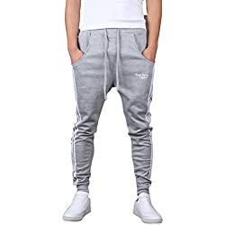Minetom Hombres Moda Pantalones Hippie Harén Pantalones De Deportivos Ocio Aptitud Pantalones Gris A EU M