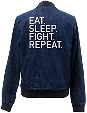 Eat Sleep Fight Repeat Bomber Chaqueta Girls Jeans Certified Freak