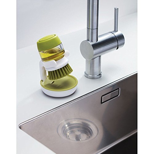 Cartshopper Cleaning Brush with Liquid Soap Dispenser Palm Brush with Storage Stand, for Kitchen Bathroom Tiles Dishwashing, Self Dispensing Home Cleaning Set Sink Sponge Holder (Plastic)