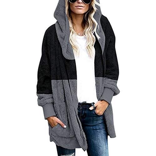 PAOLIAN Damen Wintermantel Übergroße Warme Mantel Kapuzenjacke Strickjacke Outwear mit Kapuze und Taschen