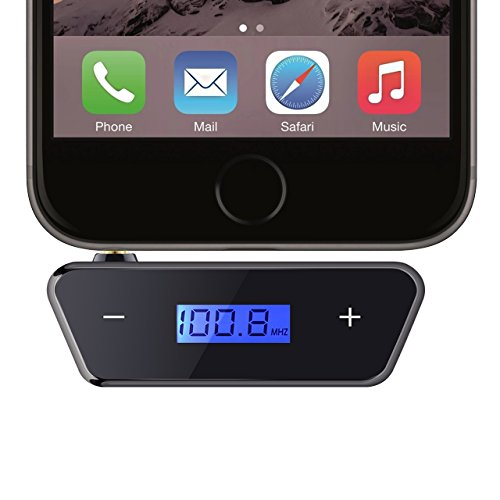 [Verbesserte Version] Mini FM Transmitter, OMorc 3.5mm Auto mp3 Player Audio Radio Adapter mit LCD-Display für iPhone 7/7 Plus/SE/6S/6Plus, iPad, iPod, Galaxy, alle Smartphones, Audio-Players usw. –Schwarz