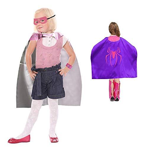 Buzifu 4 pezzzi costumi da supereroi per bambini-costumi di carnevale regali di compleanno mantelli e maschere giocattoli per bambini e bambine-4 mantelli + 4 maschere +4 polsino