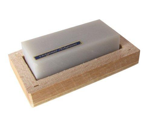 Abziehstein Hart Arkansas 60x25mm in Holzbox 80x45mm