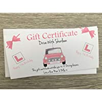 Personalised Driving Lessons Birthday Card Gift Certificate Voucher Pink 17th 18th Any Age Daughter Sister Grandaughter Girlfriend