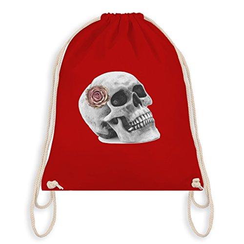 Rockabilly - Totenkopf Rose Vintage Skull - Unisize - Rot - WM110 - Turnbeutel & Gym Bag