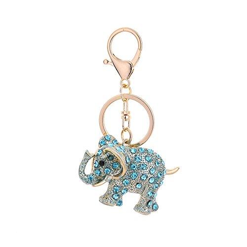 Yeshi - Llavero con diseño de elefante y diamantes de imitación, ideal para regalo, Aleación, azul