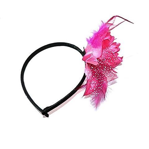 Pink Flower And Feather Hair Fascinator Satin Aliceband Headband Hairband Wedding