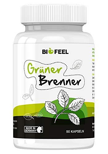 BioFeel Grüner Brenner - hochdosierte Kapseln mit Grünen-Kaffeebohnen-Extrakt und Guarana - Hergestellt in Deutschland - 90 Kapseln (80 g) - 100% natürlich
