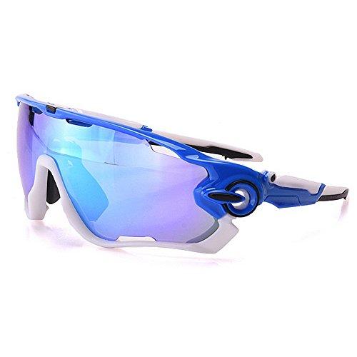 Yiph-Sunglass Sonnenbrillen Mode Übergroße polarisierte Sport-Sonnenbrille Set 3pcs austauschbare Linsen UV400 Schutz Fahren Radfahren Laufen Angeln (Farbe : Blau)